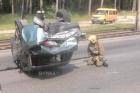 В Барнауле перевернулся автомобиль