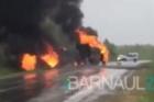 На трассе Алтайского края горел бензовоз